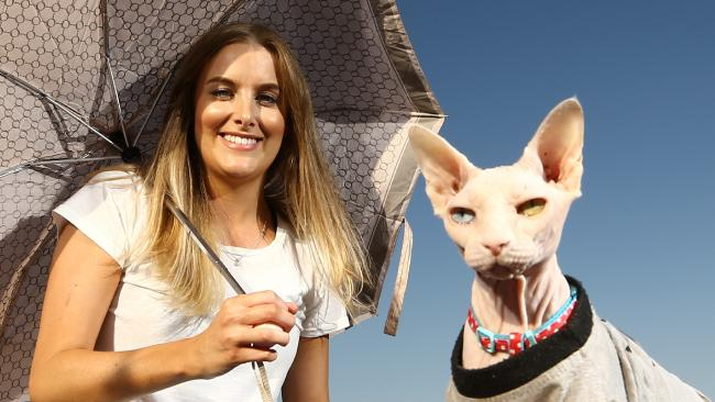 Clare Spencer with her hairless sphinx cat Austin. Picture Glenn Hampson