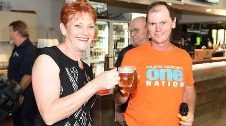 Pauline Hanson and James Hansen at the Maryborough Sports Club.