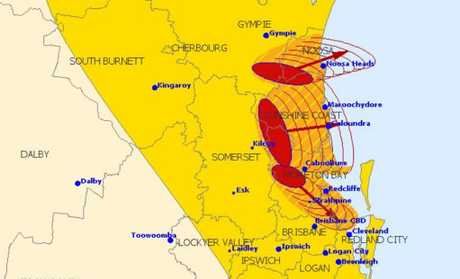 The Bureau shows four storm cells moving across southeast Queensland.
