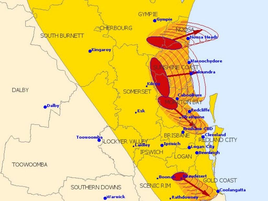 The Bureau shows four storm cells moving across southeast Queensland.