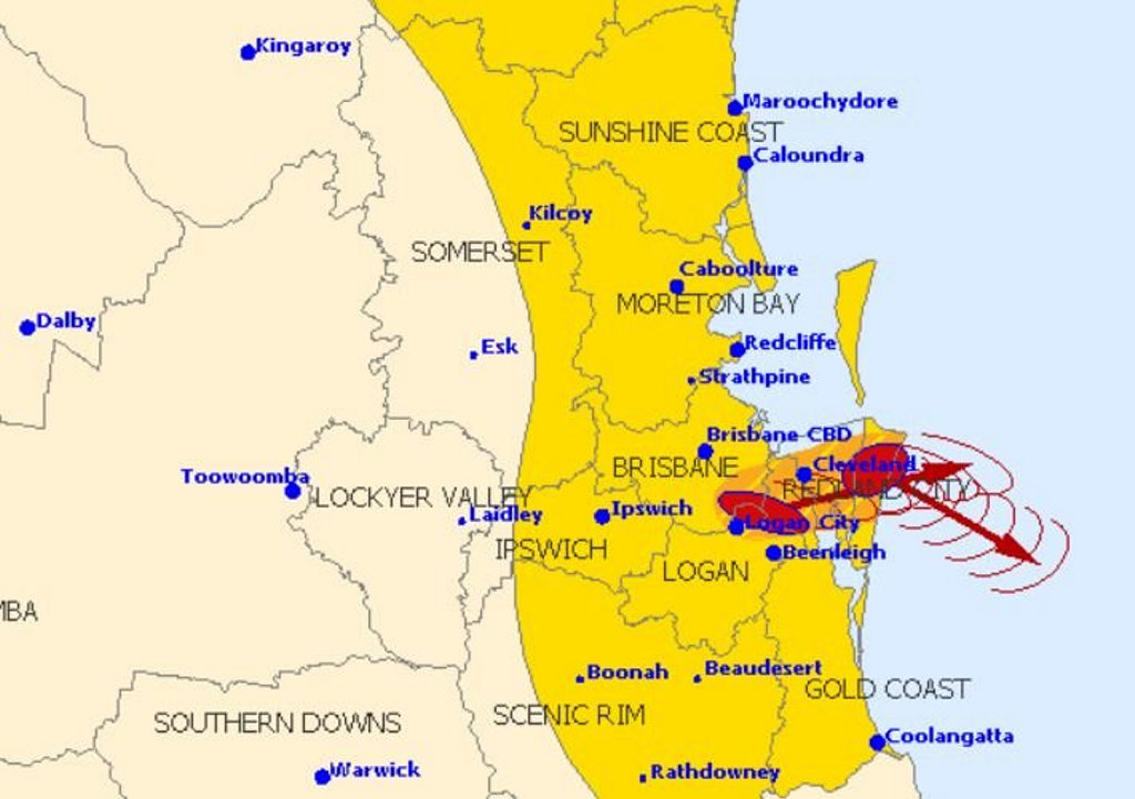 The map issued at 3:30pm shows areas impacted by severe weather.