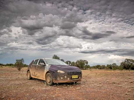 The Hyundai i30 undergoes hot weather testing in the Outback.