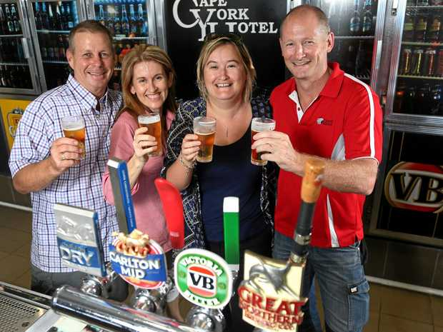 Owners of Cape York Hotel Dennis and Donna Maher with Kylie Shand and Craig Hutchinson.