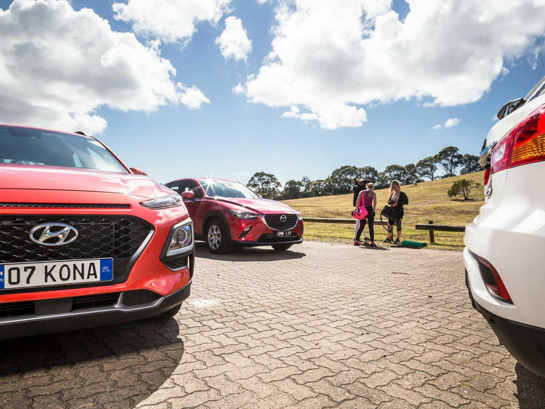 The battle of the mini SUVs: the Hyundai Kona, Mazda CX-3 and Mitsubishi ASX.