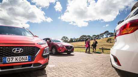 The battle of the mini SUVs: the Hyundai Kona, Mazda CX-3 and Mitsubishi ASX.