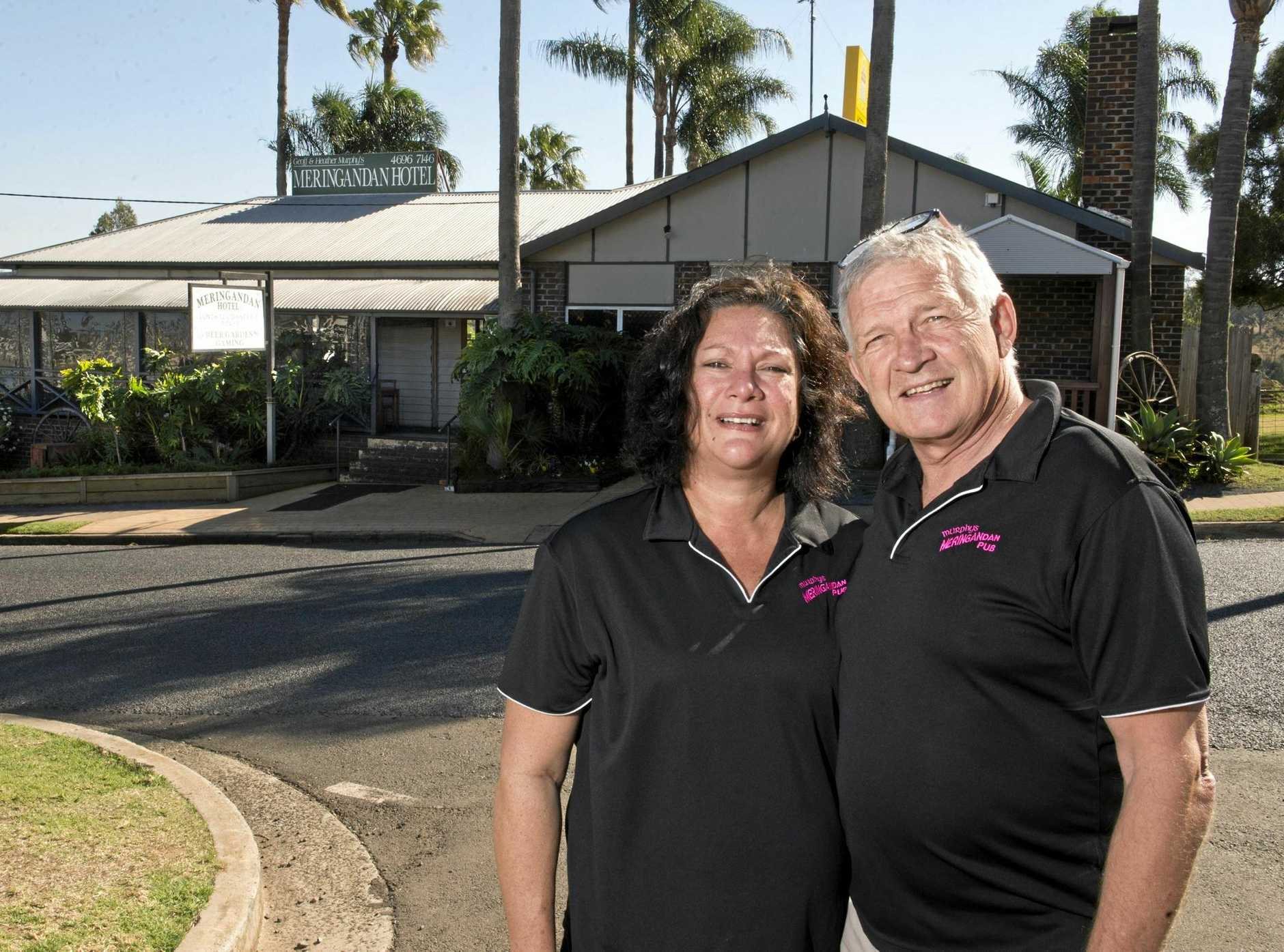 Owners Heather and Geoff Murphy outside the Meringandan Hotel.
