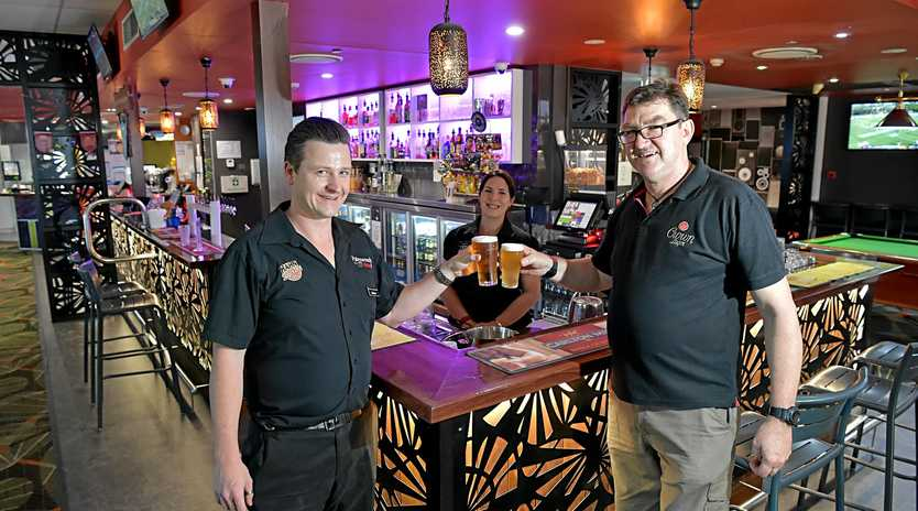 Graham Duck, Tabitha Castle and Steve Franks love to serve the locals at the Palmwoods Hotel.