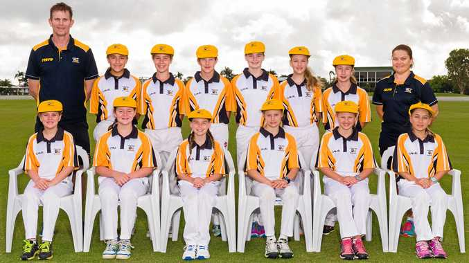 The winning Capricornia girls cricket team (back row, from left) coach Russell Holmes, Isabella Sammut, Atari Brand, Bonnie Berry, Phoebe Holmes, Meghan McCartney, Erin Harvey and manager Toni Balchin; (front row, from left) Darcie Moore, Abbey Harvey, Charlie Barsby, Tegan Early, Eden Colen and Gabby Macrae.