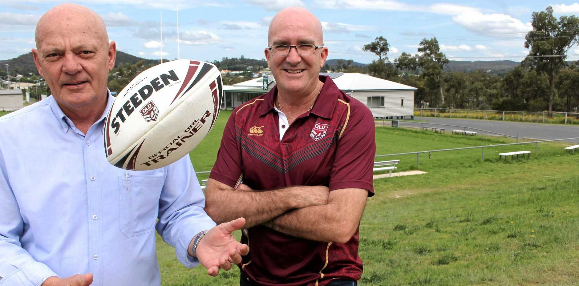 TRYING TIMES: Border Rugby League chairman Norm Crisp and QRL Central Division operations manager Michael Jensen.