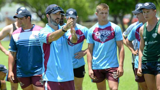 LOOKING FORWARD: Capras' strength and conditioning coach Lachlan Wells talks the recruits through their first pre-season training session at North Rockhampton High at the weekend.