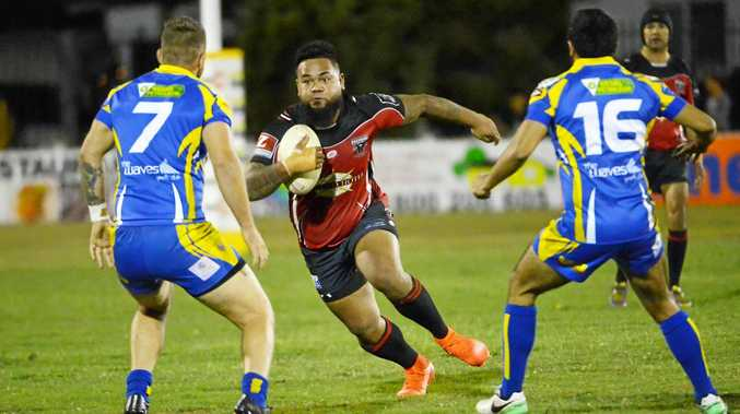 FULL STEAM: Wests' Ilaiasi Pongi plays against The Waves last season in the Bundaberg Rugby League finals. A grand final could be held on Saturday night next season.