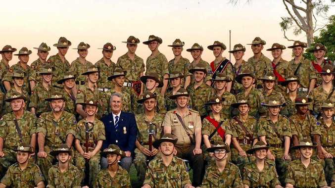 Some of the members of Mackay's 122nd Army Cadet Unit after it's annual ceremonial parade on Saturday.