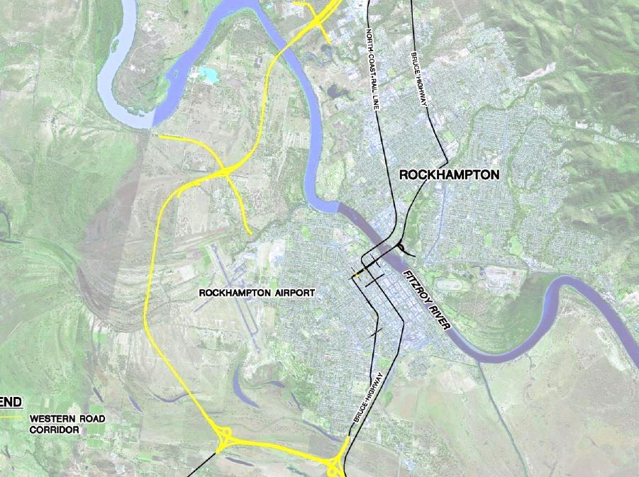The proposed route for a western bypass at Rockhampton.