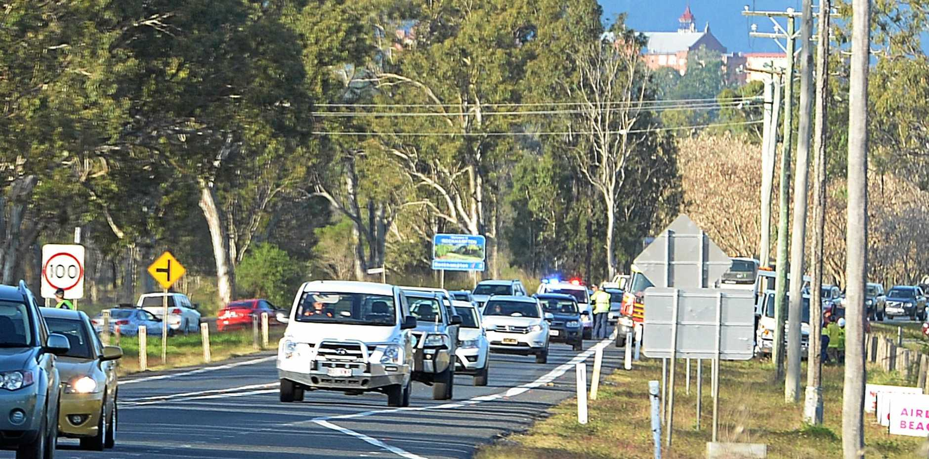 ROAD AHEAD: Independent candidate Margaret Strelow says the Rockhampton Ring Road and Capricorn Highway need a State Government commitment. Pictured: Traffic backs up on the Capricorn Highway between Rockhampton and Gracemere after a car crashed into a power pole.