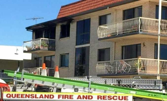 The scene of the unit fire on Bribie Island. One person was found dead inside the unit, while two men were injured in the blaze.