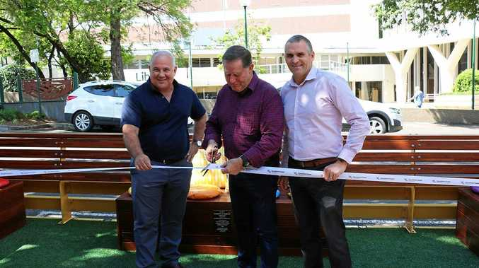 Nambour Alliance president Tony Vella, Cr Greg Rogerson and TAFE Queensland representative Dean Sherwell launch the Nambour Parklet.