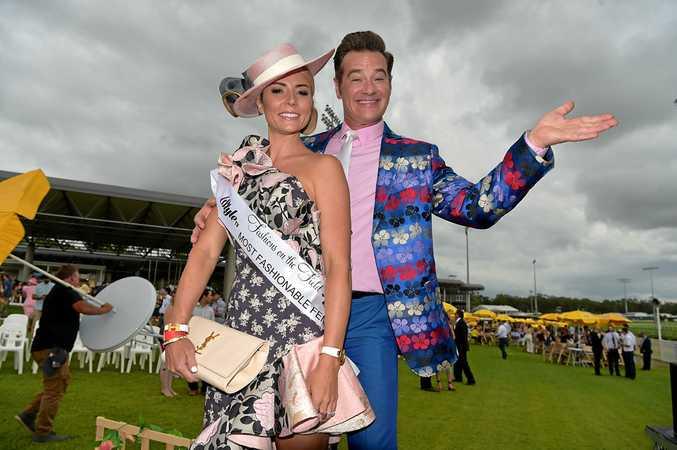 Celebrity judge Richard Reid with women's fashion winner Danni Morrison