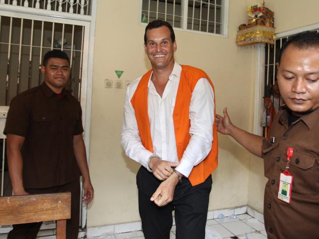 Thomas  Harman smiles after being  sentenced at Denpasar District Court in Bali. Picture: Lukman S Bintoro.