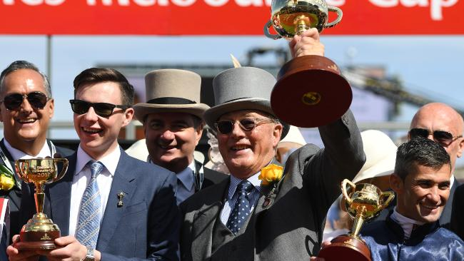 Winning trainer Joseph O'Brien, owner Lloyd Williams and jockey Corey Brown. Picture: AAP