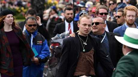 The protesters made themselves heard on Cup Day. Picture: AAP Image/Tracey Nearmy