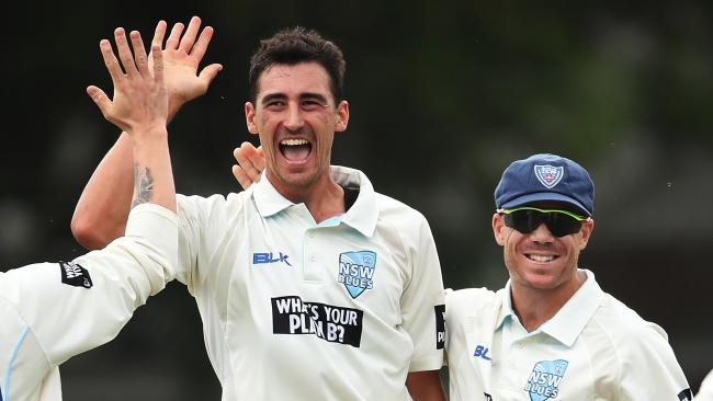Mitchell Starc celebrates his hat-trick. Picture: Phil Hillyard