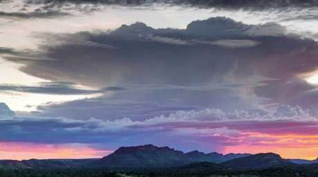 Storm cell seen across the West MacDonnell Ranges, Northern Territory. Picture: Peter Nunn