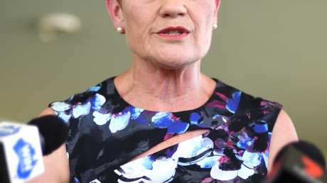 One Nation leader Pauline Hanson in Gin Gin yesterday. Picture: Dave Hunt/AAP