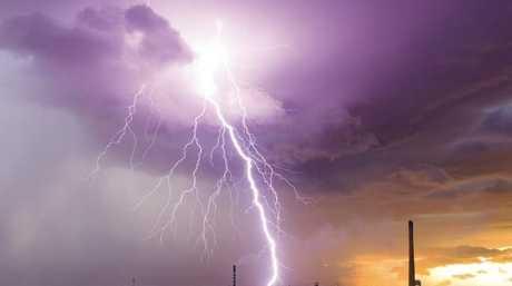 Lightning strikes over Mount Isa mines, Queensland. Picture: Grant Szabadics