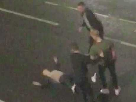 CCTV of Ben Stokes fighting with two men in a Bristol Street. Picture via The Sun