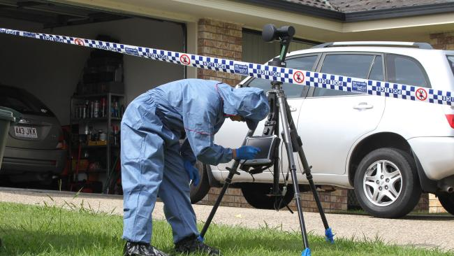Police at the Scene of the double murder. Picture Mike Batterham