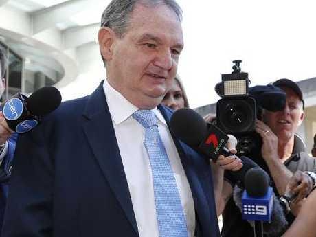 Former Ipswich Mayor Paul Pisasale on his way to court, Brisbane. Picture: AAP Image/Regi Varghese
