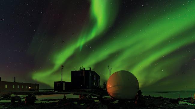 Aurora australis over Davis Station, Antarctica. Picture: Barend Becker