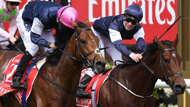 Rekindling beats Johannes Vermeer in the Melbourne Cup, and Shane Warne backed both. Picture: AAP
