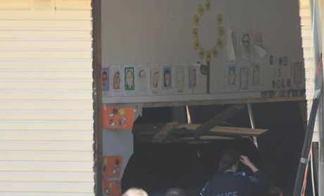 The car smashed straight through the classroom. Picture: AAP