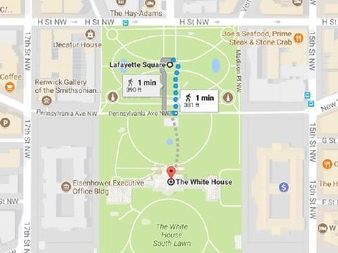 Google Maps image of the distance between where a man with a sick plot was caught and The White House.