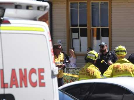 Police and paramedics at the scene in Greenacre.
