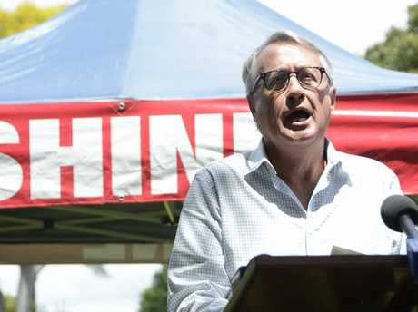 LAUNCH: Former Labor treasurer Wayne Swan speaks at Kerry Shine's campaign launch in Toowoomba on November 8, 2017.