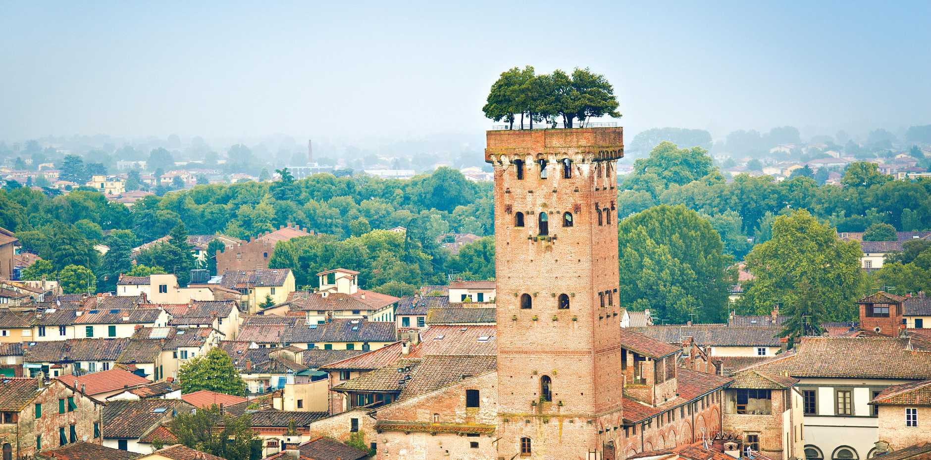 Torre Guinigi lookout tower in Lucca old town (Tuscany, Italy).