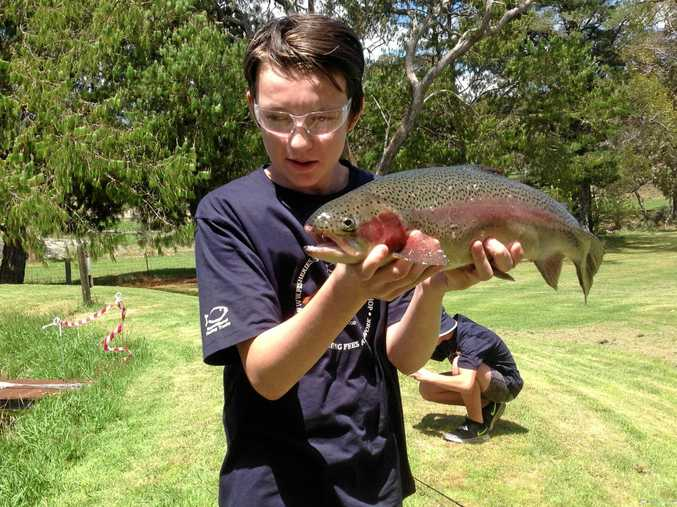 NICE CATCH: One of the boys with a trout they caught and took home for dinner.