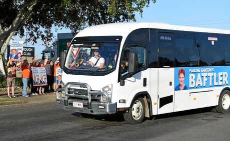 Senator Pauline Hanson is on her way to CQ in the 'Battler Bus'.