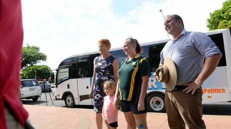 Pauline Hanson arrived in Childers on the Battler Bus to campaign with Burnett candidate Ashley Lynch and talk to the people.
