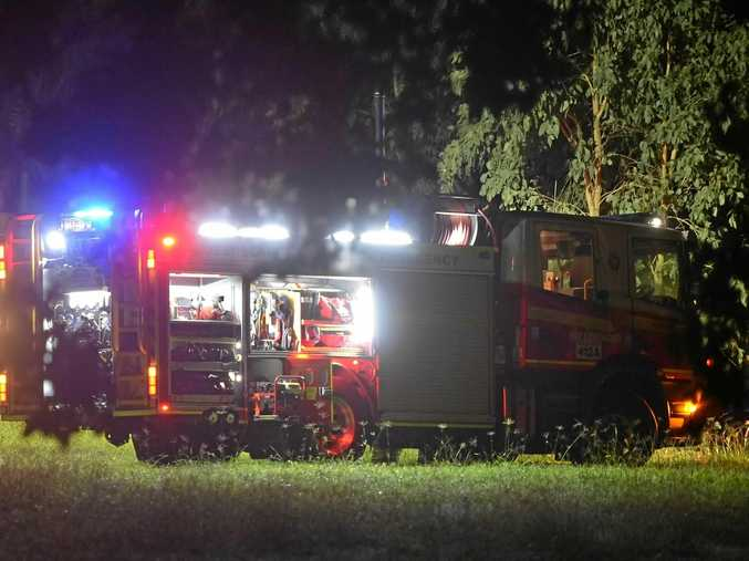 Firefighters were called to the house fire at Moffat Beach on Tuesday night.
