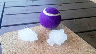 Janine Gledhill posted this photo of hail at her place in the Gympie region.