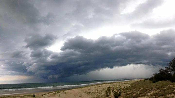 The storm rolling in over Rainbow Beach yesterday, by Charlie Spagalli.