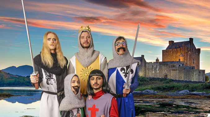 King Arthur and some of his brave knights in Coolum Theatre Players' Spamalot the Musical.