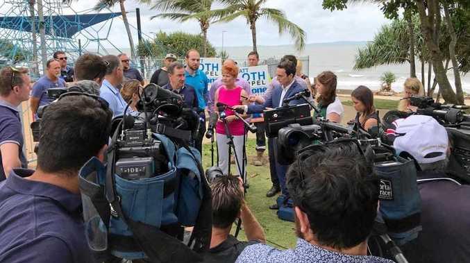 One Nation leader Pauline Hanson addresses media alongside Great Keppel Island Resort developer Terry Agnew at Yeppoon this morning.
