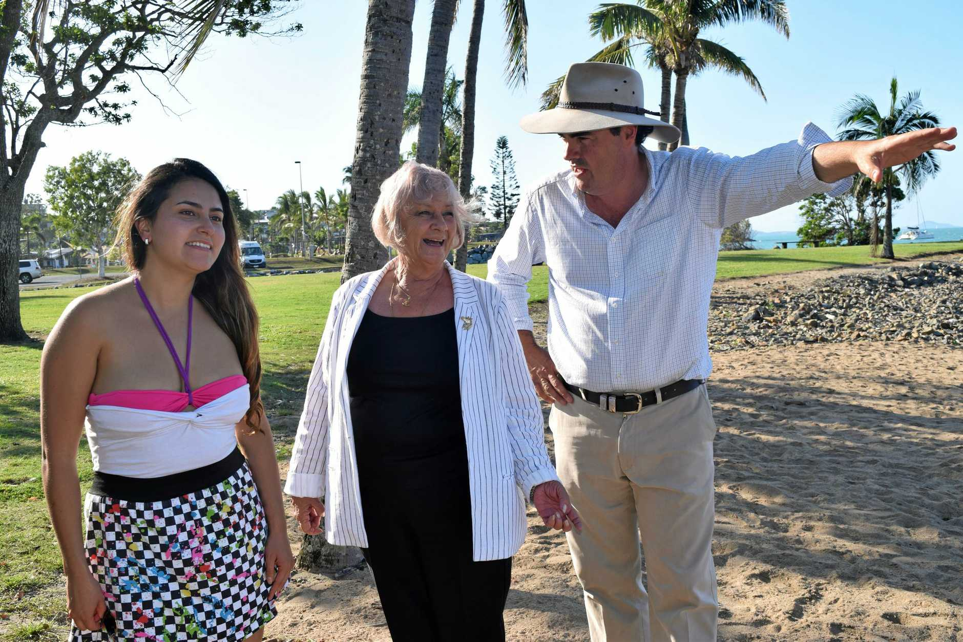 FOR SURE: South American tourist Joana Calbo, Councillor Jan Clifford and Whitsunday MP Jason Costigan check out the foreshore.