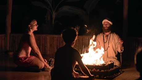 Hariharalaya founder and director Joel Altman performs a fire ceremony.