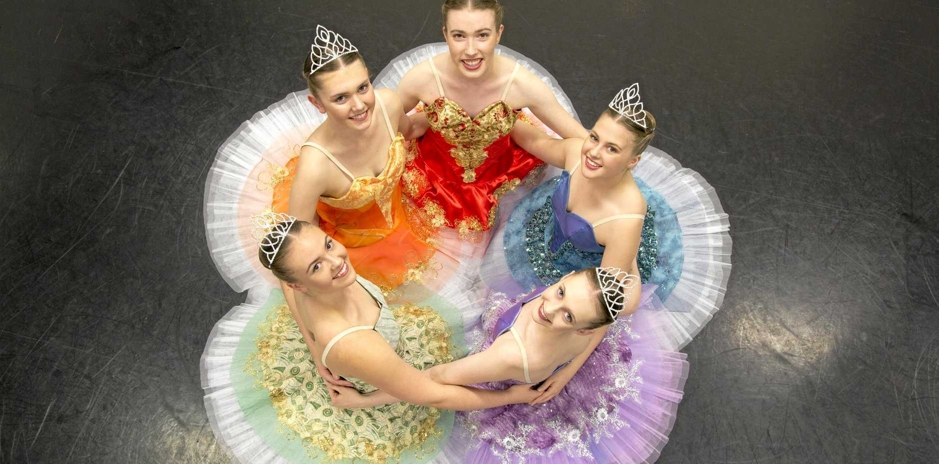 READY TO PERFORM: Dance Central dancers performing in the senior school's production of Sleeping Beauty are (clockwise from left) Misti Tommei, Olivia Larsen, Taylor Seymour, Laura McCosker and Ella Coleborn.