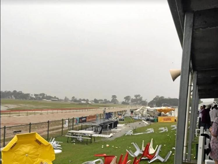 THERE SHE BLOWS: The Bundaberg race track was a mess Tuesday afternoon when wild winds and rain ripped through the area, destroying marquees and furniture in a Cup day they won't forget.